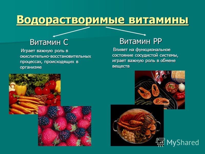 Водорастворимые витамины Витамин С Витамин С Играет важную роль в окислительно-восстановительных процессах, происходящих в организме Играет важную роль в окислительно-восстановительных процессах, происходящих в организме Витамин РР Витамин РР Влияет