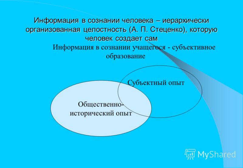 Общественно- исторический опыт Информация в сознании человека – иерархически организованная целостность (А. П. Стеценко), которую человек создает сам Информация в сознании учащегося - субъективное образование Субъектный опыт