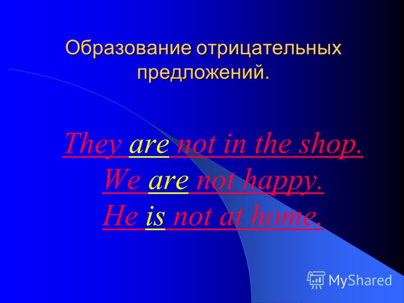 Образование отрицательных предложений. They are not in the shop. We are not happy. He is not at home.