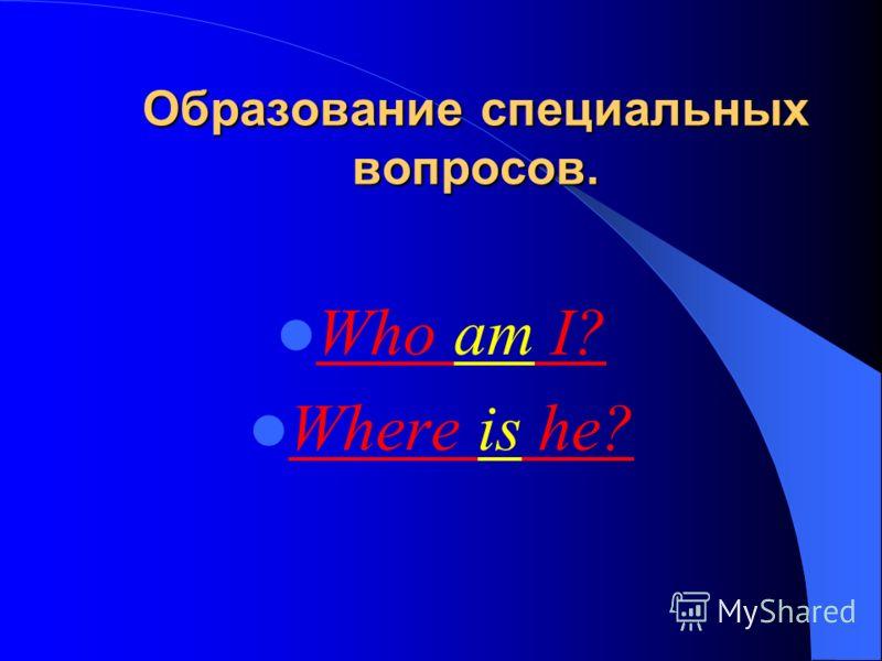 Образование специальных вопросов. Who am I? Where is he?