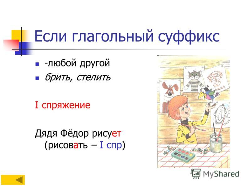Если глагольный суффикс -любой другой брить, стелить I спряжение Дядя Фёдор рисует (рисовать – I спр)