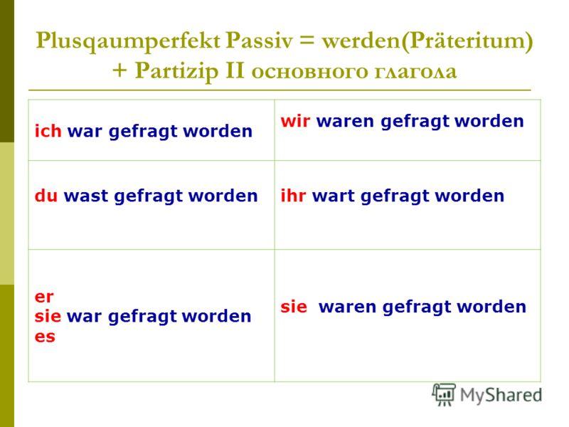 Plusqaumperfekt Passiv = werden(Präteritum) + Partizip II основного глагола ich war gefragt worden wir waren gefragt worden du wast gefragt wordenihr wart gefragt worden er sie war gefragt worden es sie waren gefragt worden