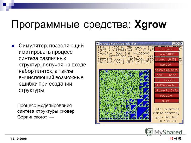 48 of 52 15.10.2006 Программные средства: Xgrow Симулятор, позволяющий имитировать процесс синтеза различных структур, получая на входе набор плиток, а также вычисляющий возможные ошибки при создании структуры. Процесс моделирования синтеза структуры