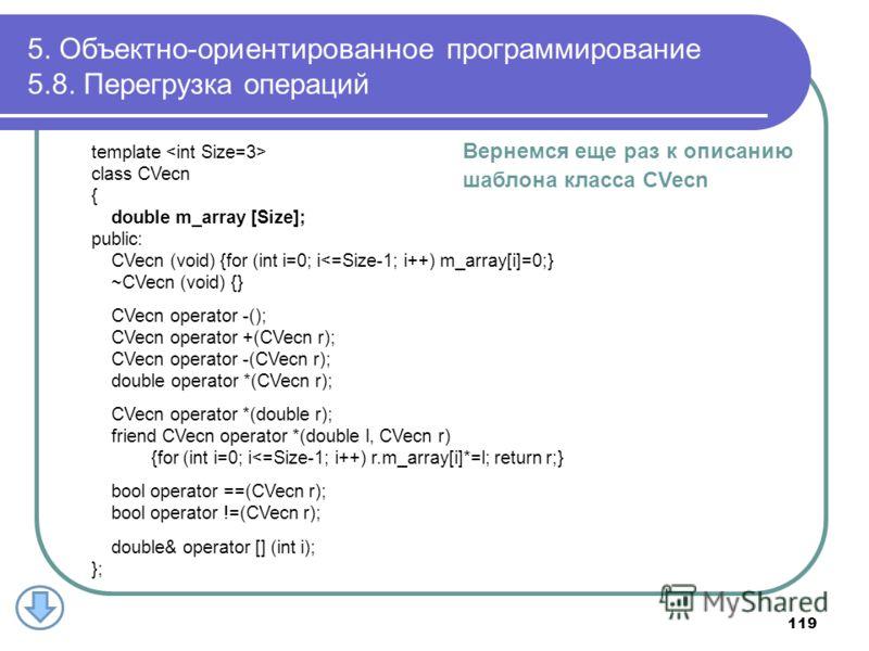 5. Объектно-ориентированное программирование 5.8. Перегрузка операций 119 Вернемся еще раз к описанию шаблона класса CVecn template class CVecn { double m_array [Size]; public: CVecn (void) {for (int i=0; i