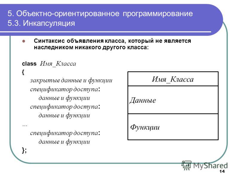 Синтаксис объявления класса, который не является наследником никакого другого класса: class Имя_Класса { закрытые данные и функции спецификатор доступа : данные и функции спецификатор доступа : данные и функции … спецификатор доступа : данные и функц