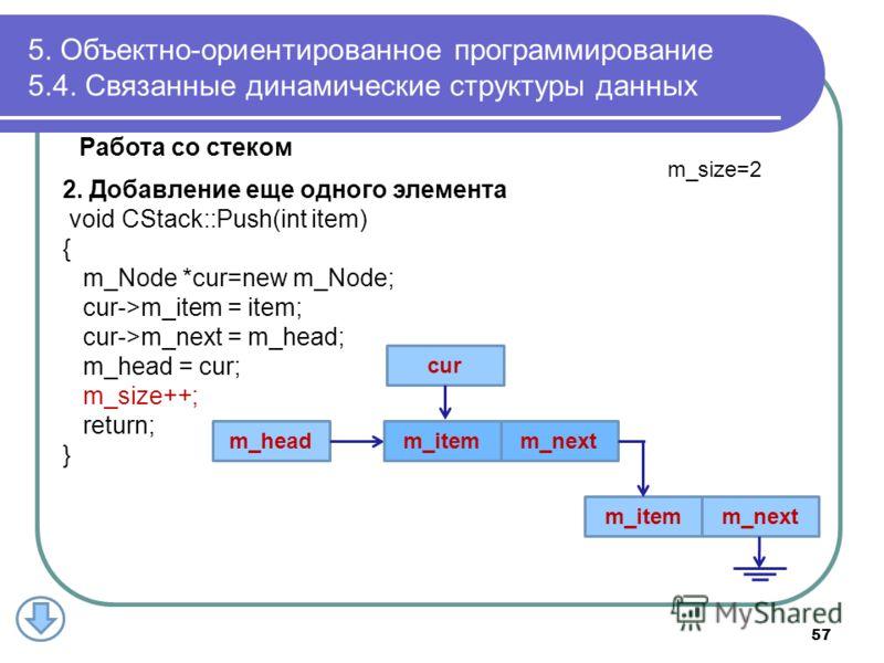 Работа со стеком 2. Добавление еще одного элемента void CStack::Push(int item) { m_Node *cur=new m_Node; cur->m_item = item; cur->m_next = m_head; m_head = cur; m_size++; return; } 5. Объектно-ориентированное программирование 5.4. Связанные динамичес