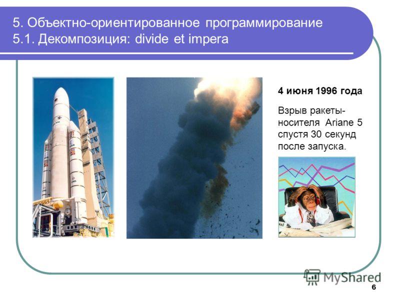 6 4 июня 1996 года Взрыв ракеты- носителя Ariane 5 спустя 30 секунд после запуска.