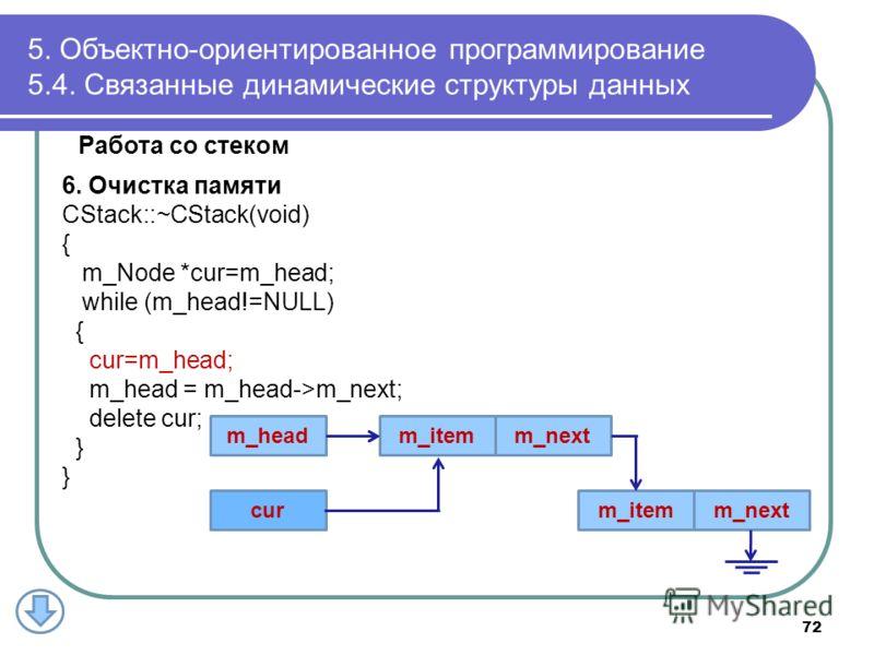 Работа со стеком 6. Очистка памяти CStack::~CStack(void) { m_Node *cur=m_head; while (m_head!=NULL) { cur=m_head; m_head = m_head->m_next; delete cur; } 5. Объектно-ориентированное программирование 5.4. Связанные динамические структуры данных m_itemm