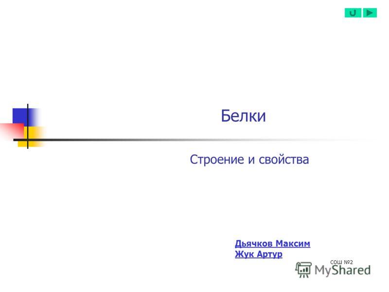Белки Строение и свойства Дьячков Максим Жук Артур СОШ 2