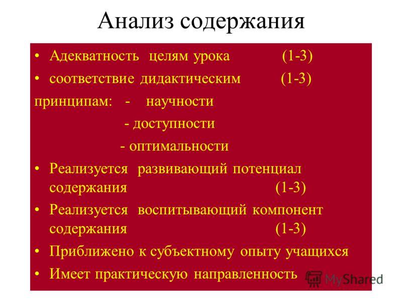 Анализ содержания Адекватность целям урока (1-3) соответствие дидактическим (1-3) принципам: - научности - доступности - оптимальности Реализуется развивающий потенциал содержания (1-3) Реализуется воспитывающий компонент содержания (1-3) Приближено