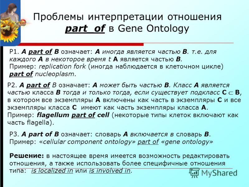 P1. A part of B означает: A иногда является частью B. т.е. для каждого A в некоторое время t A является частью B. Пример: replication fork (иногда наблюдается в клеточном цикле) part of nucleoplasm. P2. A part of B означает: A может быть частью B. Кл