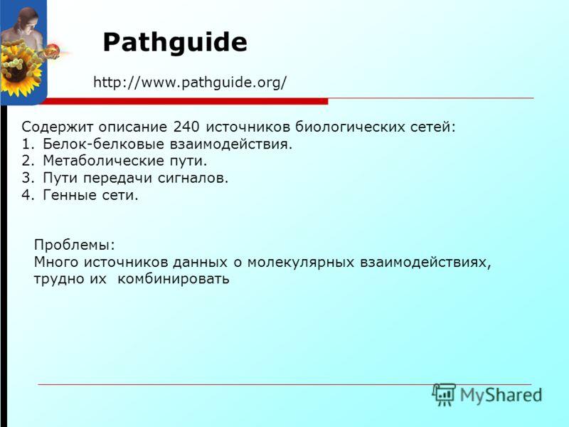 http://www.pathguide.org/ Pathguide Содержит описание 240 источников биологических сетей: 1.Белок-белковые взаимодействия. 2.Метаболические пути. 3.Пути передачи сигналов. 4.Генные сети. Проблемы: Много источников данных о молекулярных взаимодействия