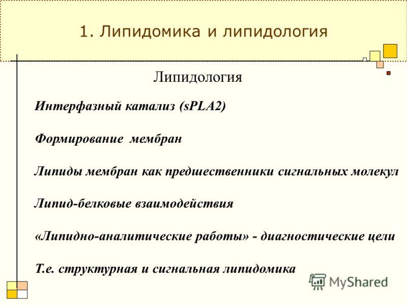 Липидология Интерфазный катализ (sPLA2) Формирование мембран Липиды мембран как предшественники сигнальных молекул Липид-белковые взаимодействия «Липидно-аналитические работы» - диагностические цели Т.е. структурная и сигнальная липидомика 1. Липидом