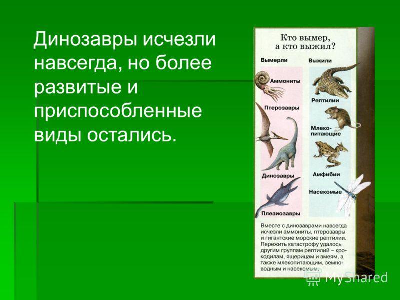 Динозавры исчезли навсегда, но более развитые и приспособленные виды остались.