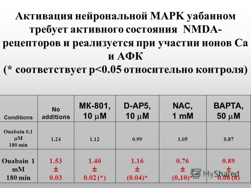 Активация нейрональной MAPK уабаином требует активного состояния NMDA- рецепторов и реализуется при участии ионов Са и АФК (* соответствует p