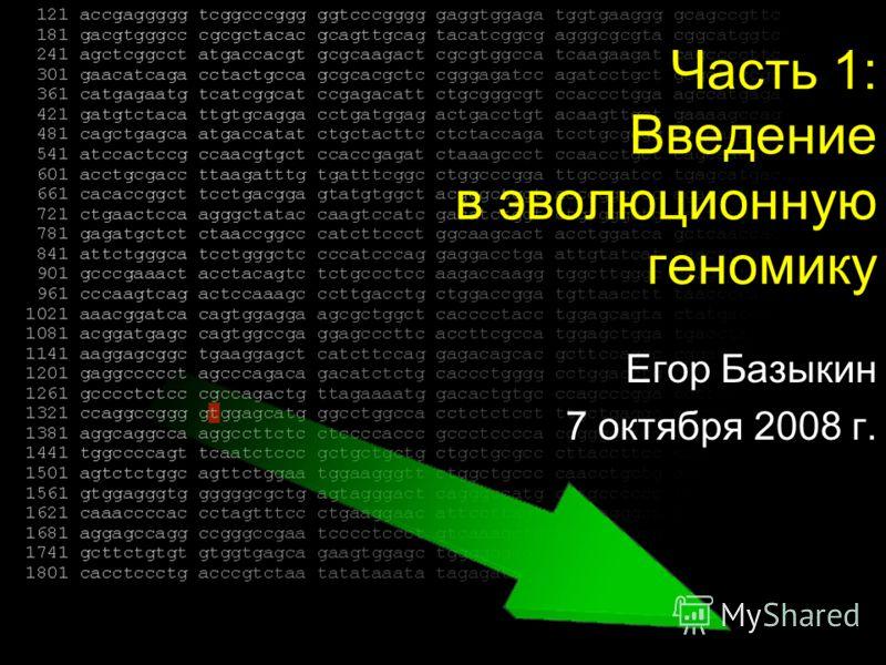 Часть 1: Введение в эволюционную геномику Егор Базыкин 7 октября 2008 г.
