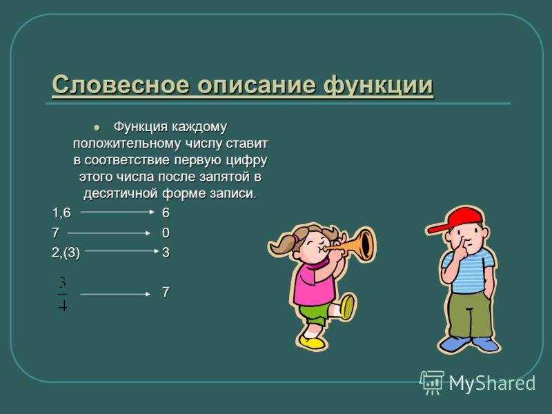 Словесное описание функции Словесное описание функции Функция каждому положительному числу ставит в соответствие первую цифру этого числа после запятой в десятичной форме записи. Функция каждому положительному числу ставит в соответствие первую цифру