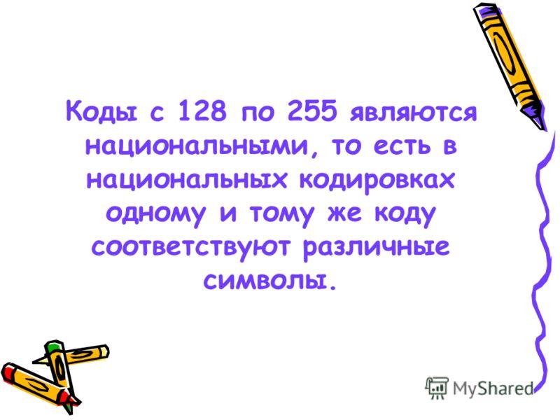 Коды с 128 по 255 являются национальными, то есть в национальных кодировках одному и тому же коду соответствуют различные символы.