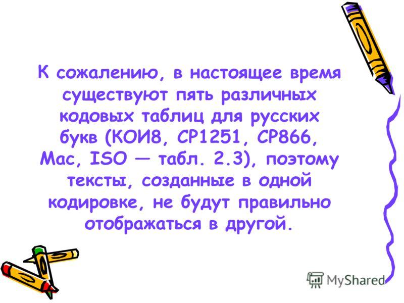 К сожалению, в настоящее время существуют пять различных кодовых таблиц для русских букв (КОИ8, СР1251, СР866, Mac, ISO табл. 2.3), поэтому тексты, созданные в одной кодировке, не будут правильно отображаться в другой.