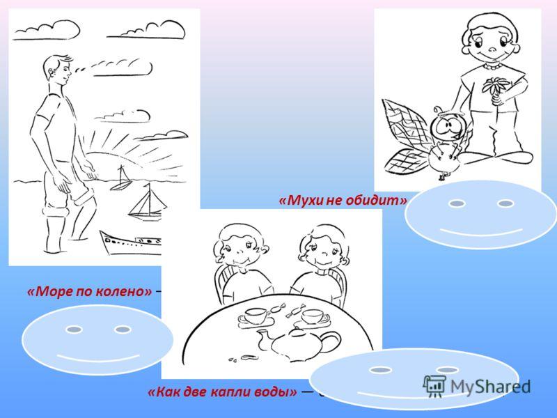 «Море по колено» ничто не страшно. «Мухи не обидит» кроткий человек. «Как две капли воды» очень похожи друг на друга.