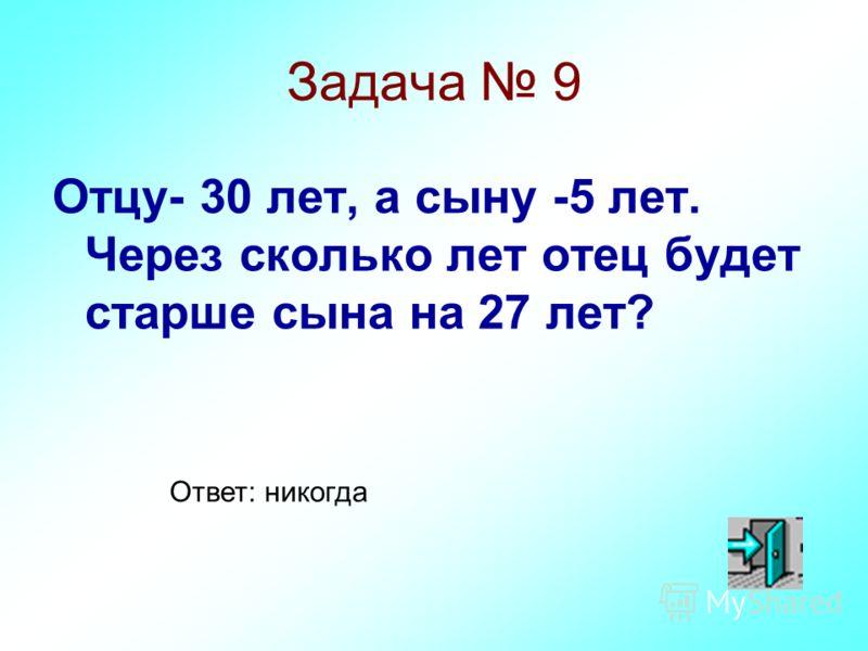 Задача 9 Отцу- 30 лет, а сыну -5 лет. Через сколько лет отец будет старше сына на 27 лет? Ответ: никогда