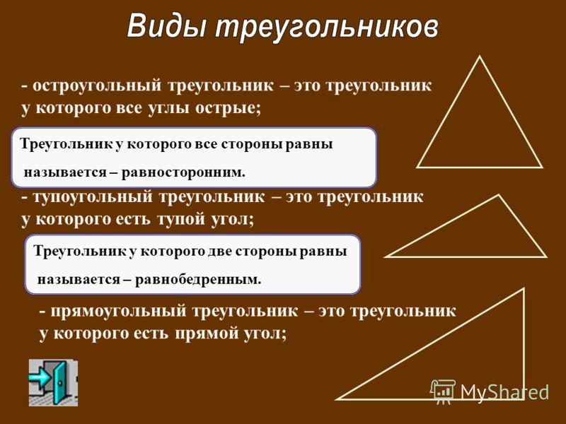 - остроугольный треугольник – это треугольник у которого все углы острые; - тупоугольный треугольник – это треугольник у которого есть тупой угол; - прямоугольный треугольник – это треугольник у которого есть прямой угол; Треугольник у которого все с