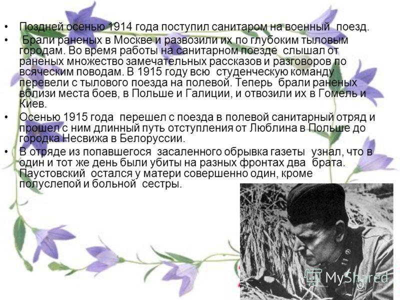 Поздней осенью 1914 года поступил санитаром на военный поезд. Брали раненых в Москве и развозили их по глубоким тыловым городам. Во время работы на санитарном поезде слышал от раненых множество замечательных рассказов и разговоров по всяческим повода