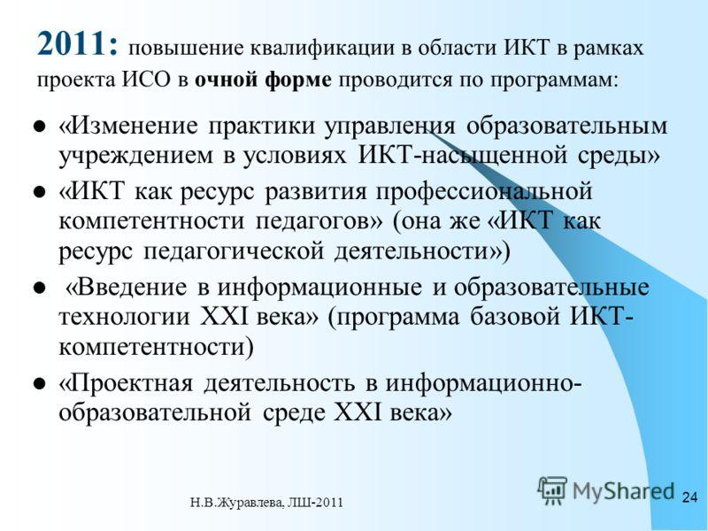 2011: повышение квалификации в области ИКТ в рамках проекта ИСО в очной форме проводится по программам: «Изменение практики управления образовательным учреждением в условиях ИКТ-насыщенной среды» «ИКТ как ресурс развития профессиональной компетентнос