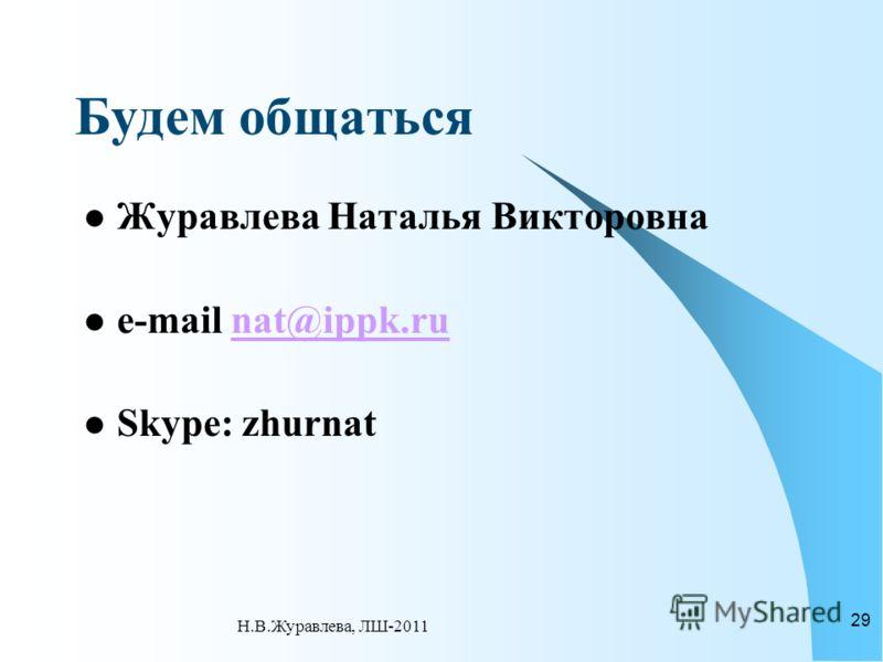 Будем общаться Журавлева Наталья Викторовна e-mail nat@ippk.runat@ippk.ru Skype: zhurnat 29 Н.В.Журавлева, ЛШ-2011