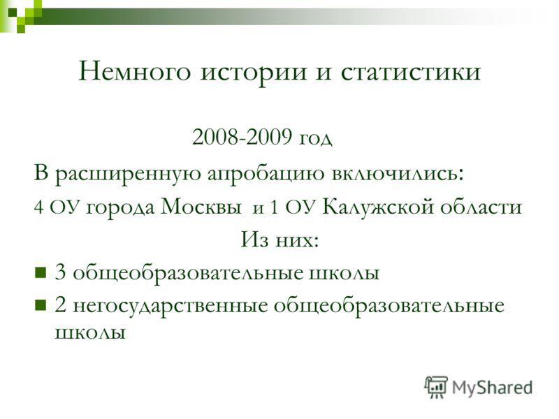 Немного истории и статистики 2008-2009 год В расширенную апробацию включились : 4 ОУ города Москвы и 1 ОУ Калужской области Из них: 3 общеобразовательные школы 2 негосударственные общеобразовательные школы