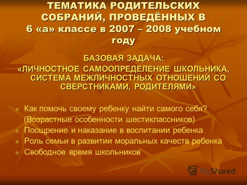 ТЕМАТИКА РОДИТЕЛЬСКИХ СОБРАНИЙ, ПРОВЕДЁННЫХ В 6 «а» классе в 2007 – 2008 учебном году БАЗОВАЯ ЗАДАЧА: «ЛИЧНОСТНОЕ САМООПРЕДЕЛЕНИЕ ШКОЛЬНИКА, СИСТЕМА МЕЖЛИЧНОСТНЫХ ОТНОШЕНИЙ СО СВЕРСТНИКАМИ, РОДИТЕЛЯМИ» Как помочь своему ребенку найти самого себя? (Во