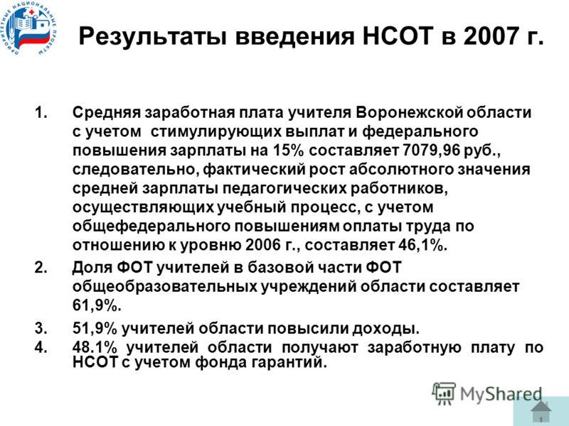 Результаты введения НСОТ в 2007 г. 1.Средняя заработная плата учителя Воронежской области с учетом стимулирующих выплат и федерального повышения зарплаты на 15% составляет 7079,96 руб., следовательно, фактический рост абсолютного значения средней зар