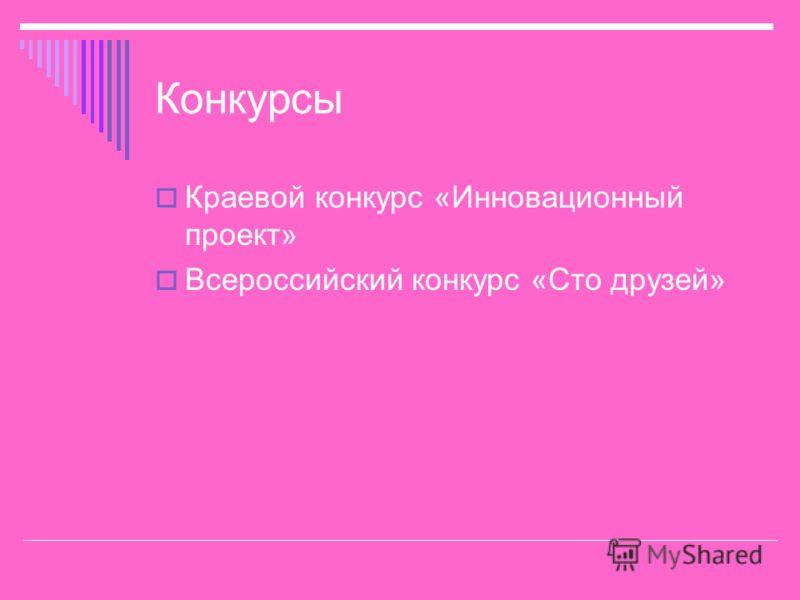 Конкурсы Краевой конкурс «Инновационный проект» Всероссийский конкурс «Сто друзей»