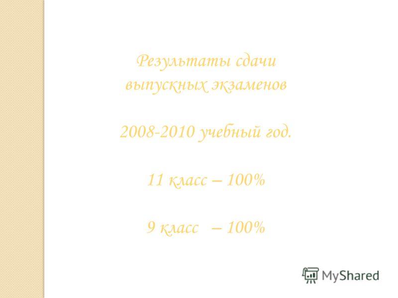Результаты сдачи выпускных экзаменов 2008-2010 учебный год. 11 класс – 100% 9 класс – 100%