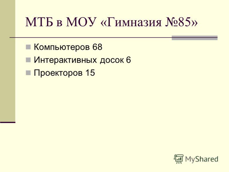 МТБ в МОУ «Гимназия 85» Компьютеров 68 Интерактивных досок 6 Проекторов 15