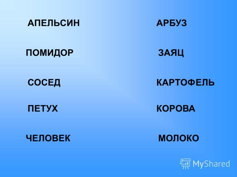 АПЕЛЬСИНАРБУЗ ПОМИДОРЗАЯЦ КАРТОФЕЛЬСОСЕД ПЕТУХКОРОВА МОЛОКОЧЕЛОВЕК