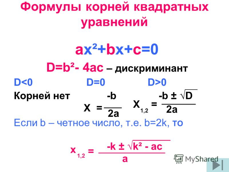 Формулы корней квадратных уравнений ах²+bх+с=0 D=b²- 4ac – дискриминант D 0 Корней нет -b -b ± D 2a Если b – четное число, т.е. b=2k, ТО -k ± k² - ac X = 2a 1,2 a = x