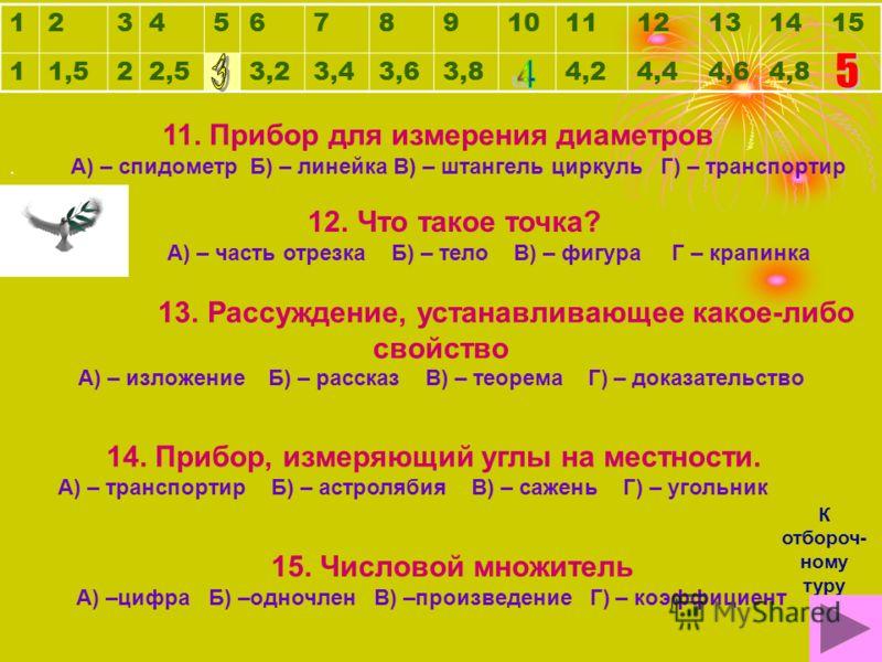 12345678910111213141511,522,53,23,43,63,84,24,44,64,8 6. Перпендикуляр, опущенный из вершины треугольника. А) – ребро Б) – высота В) – катет Г) – гипотеза 7. Сумма длин всех сторон А) – итог Б) – площадь В) – периметр Г) – слагаемое 8. 1/60 часть мин