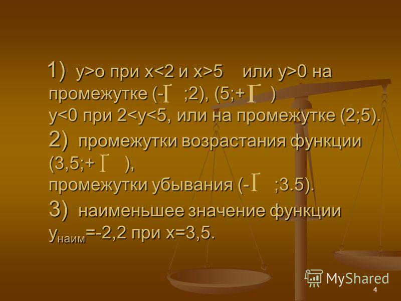 4 1) y>o при x 5 или y>0 на промежутке (- ;2), (5;+ ) y o при x 5 или y>0 на промежутке (- ;2), (5;+ ) y