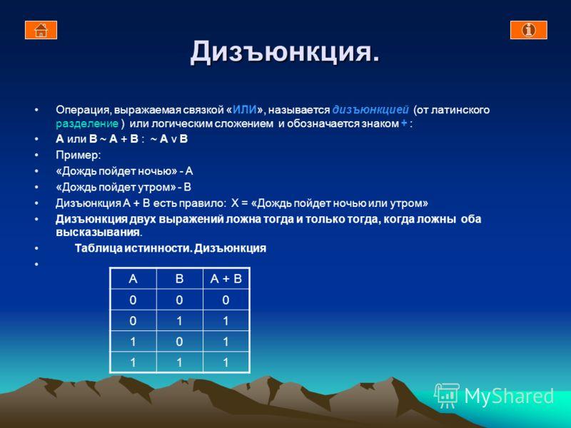 Конъюнкция. Операция, выражаемая связкой «И», называется конъюнкцией (от латинского соединение) или логическим умножением и обозначается точкой. А и В ~ A * B. Пример : «Сергей поедет летом в Европу» - А «Сергей поедет летом в Азию» - В «Сергей поеде