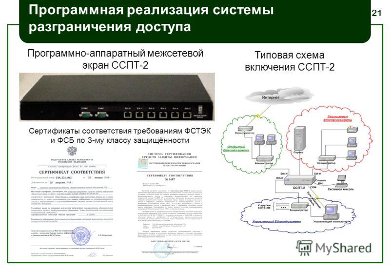21 Программная реализация системы разграничения доступа Программно-аппаратный межсетевой экран ССПТ-2 Типовая схема включения ССПТ-2 Сертификаты соответствия требованиям ФСТЭК и ФСБ по 3-му классу защищённости