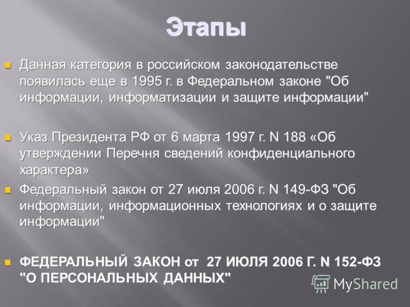 Этапы Данная категория в российском законодательстве появилась еще в 1995 г. в Федеральном законе