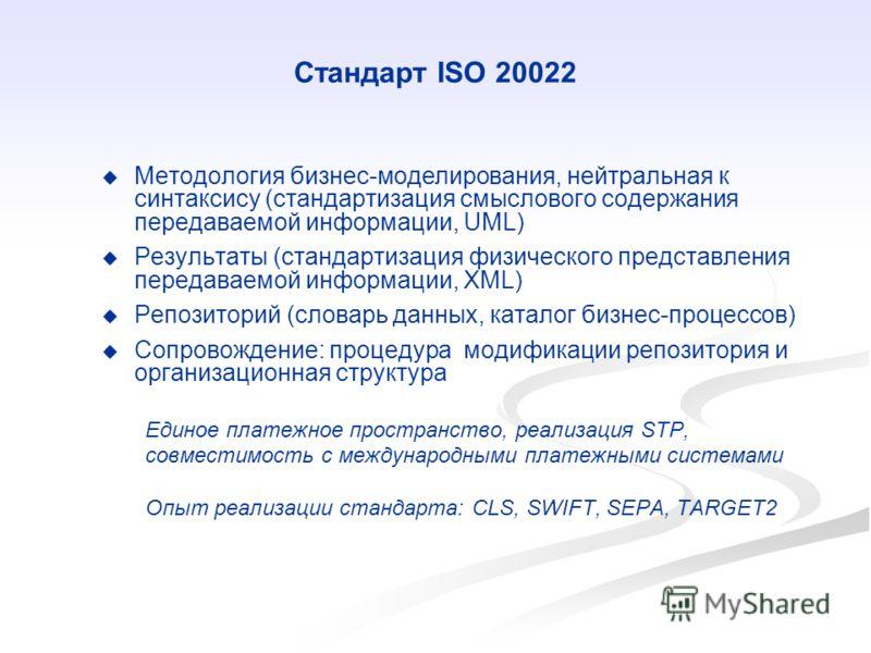 Методология бизнес-моделирования, нейтральная к синтаксису (стандартизация смыслового содержания передаваемой информации, UML) Результаты (стандартизация физического представления передаваемой информации, XML) Репозиторий (словарь данных, каталог биз