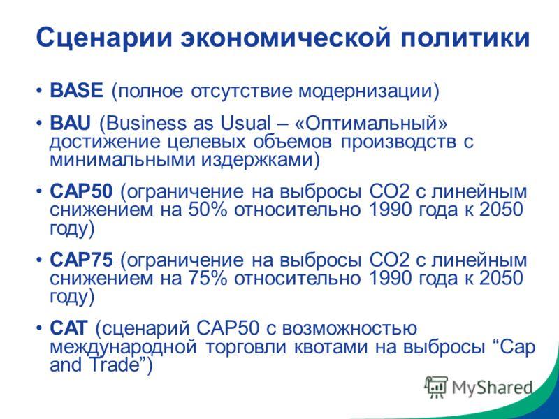 Сценарии экономической политики BASE (полное отсутствие модернизации) BAU (Business as Usual – «Оптимальный» достижение целевых объемов производств с минимальными издержками) CAP50 (ограничение на выбросы СО2 с линейным снижением на 50% относительно