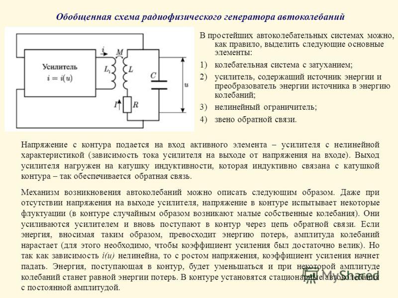 Обобщенная схема радиофизического генератора автоколебаний В простейших автоколебательных системах можно, как правило, выделить следующие основные элементы: 1)колебательная система с затуханием; 2)усилитель, содержащий источник энергии и преобразоват