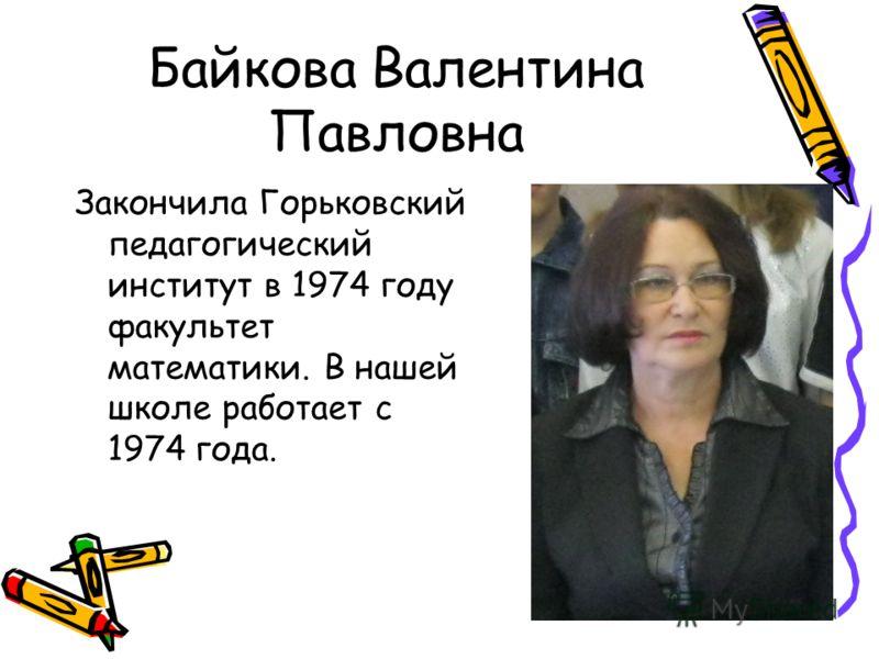 Байкова Валентина Павловна Закончила Горьковский педагогический институт в 1974 году факультет математики. В нашей школе работает с 1974 года.
