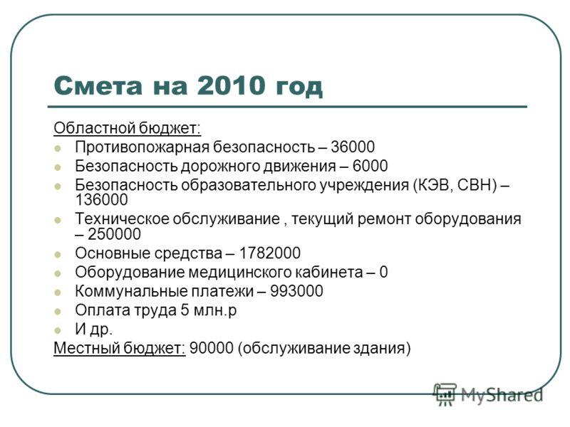 Смета на 2010 год Областной бюджет: Противопожарная безопасность – 36000 Безопасность дорожного движения – 6000 Безопасность образовательного учреждения (КЭВ, СВН) – 136000 Техническое обслуживание, текущий ремонт оборудования – 250000 Основные средс