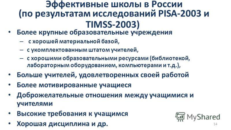 14 Эффективные школы в России (по результатам исследований PISA-2003 и TIMSS-2003) Более крупные образовательные учреждения – с хорошей материальной базой, – c укомплектованным штатом учителей, – c хорошими образовательными ресурсами (библиотекой, ла