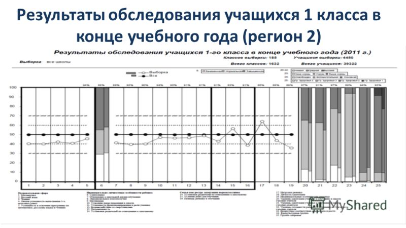 Результаты обследования учащихся 1 класса в конце учебного года (регион 2)