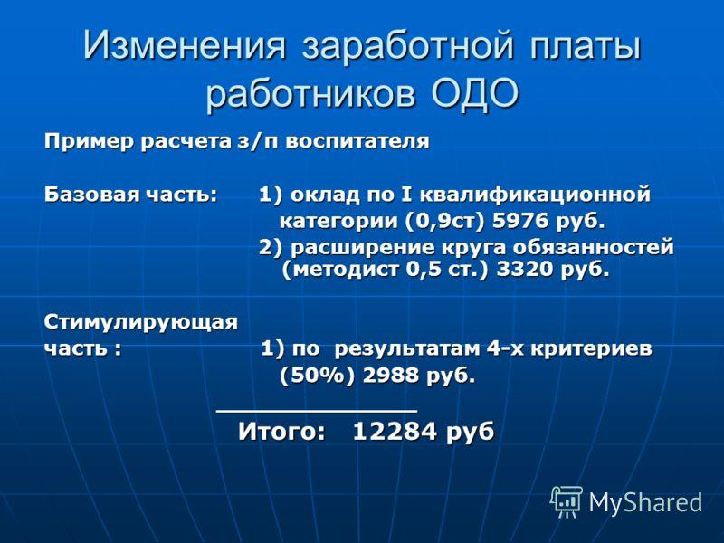 Изменения заработной платы работников ОДО Пример расчета з/п воспитателя Базовая часть: 1) оклад по I квалификационной категории (0,9ст) 5976 руб. категории (0,9ст) 5976 руб. 2) расширение круга обязанностей (методист 0,5 ст.) 3320 руб. 2) расширение